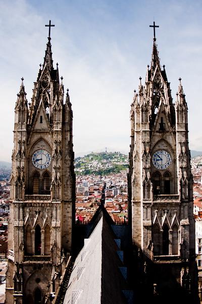 Twin Clocks on the Basílica del Voto Nacional  in Quito Ecuador