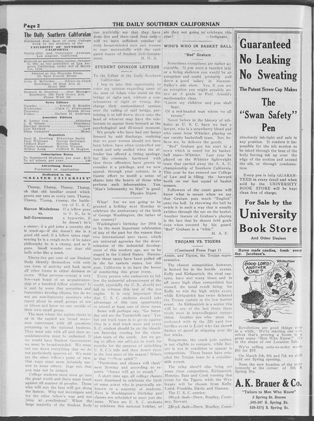 The Daily Southern Californian, Vol. 4, No. 8, February 20, 1914
