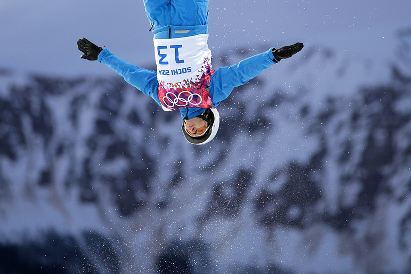. Alla Tsuper, of Belarus, competes during the women\'s freestyle skiing aerials qualifying at the Rosa Khutor Extreme Park, at the 2014 Winter Olympics, Friday, Feb. 14, 2014, in Krasnaya Polyana, Russia. (AP Photo/Jae C. Hong)