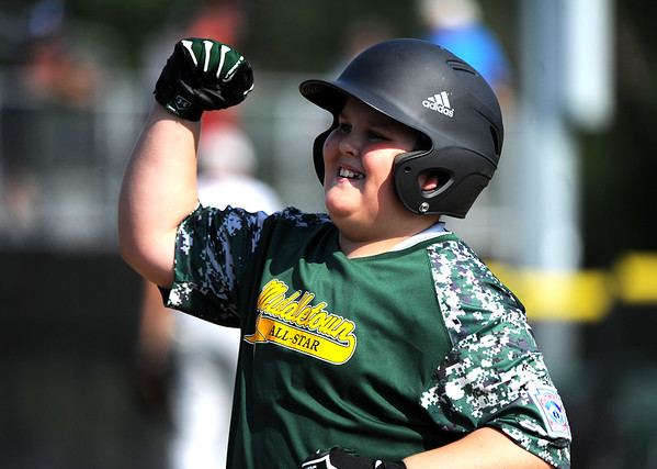 8/6/2018 Mike Orazzi   Staff Middletown New Jersey Little League's Alfred Delia (12) during a win over the Berlin, Maryland Team at Breen Field in Bristol during the 2018 Little League Eastern Regional Tournament.