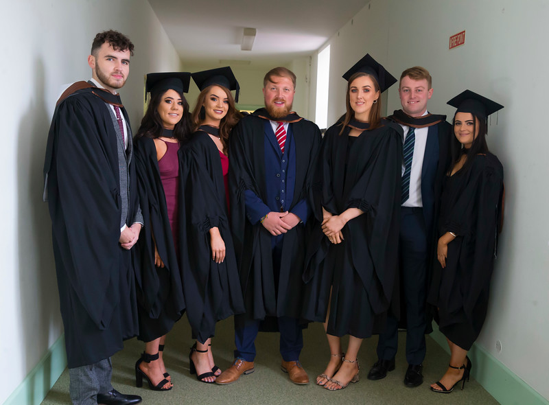 31/10/2018. Waterford Institute of Technology (WIT) Conferring Ceremonies 2018. Pictured are Claire Breen Ferns, Eoin Doyle Clough Kilkenny, Brid Farrell Enniscorthy, Paul Collins Ballincollig, Michaela O'Meara Thurles, Mark O'Connell Waterford, Jenifer McCormack Raheny. Picture: Patrick Browne