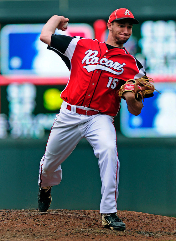 . Rocori\'s Jake Hennen gave up four runs on five hits and a walk to Mounds View batters in the fourth inning, his only inning of work for the Spartans.  (Pioneer Press: Scott Takushi)