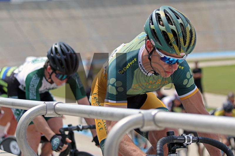 Liam Flanagan of Lees-McRae College prepares to race at the USA Cycling Collegiate Track National Championships at Giordana Velodrome in Rock Hill, S.C., on Friday, Sept. 13, 2019.