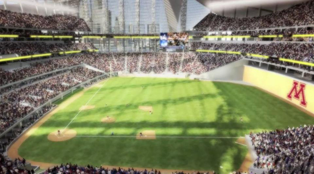 . A rendering of the interior of the new Vikings stadium, set up for Gophers baseball, released on Monday May 13, 2013. (Courtesy Minnesota Vikings)