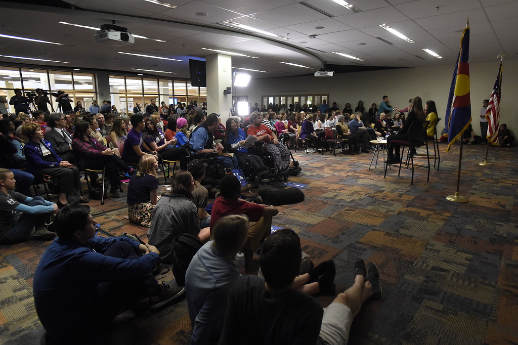 . DENVER, CO - FEBRUARY 18: A room of about 100 supporters and students heard Chelsea Clinton and actress America Ferrera speak during a campaign stop for Hillary Clinton in Denver February 18, 2016 at the Anderson Academic Commons. (Photo By John Leyba/The Denver Post)