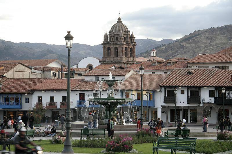 View of the Plaza de Armas in Cuzco, Peru.