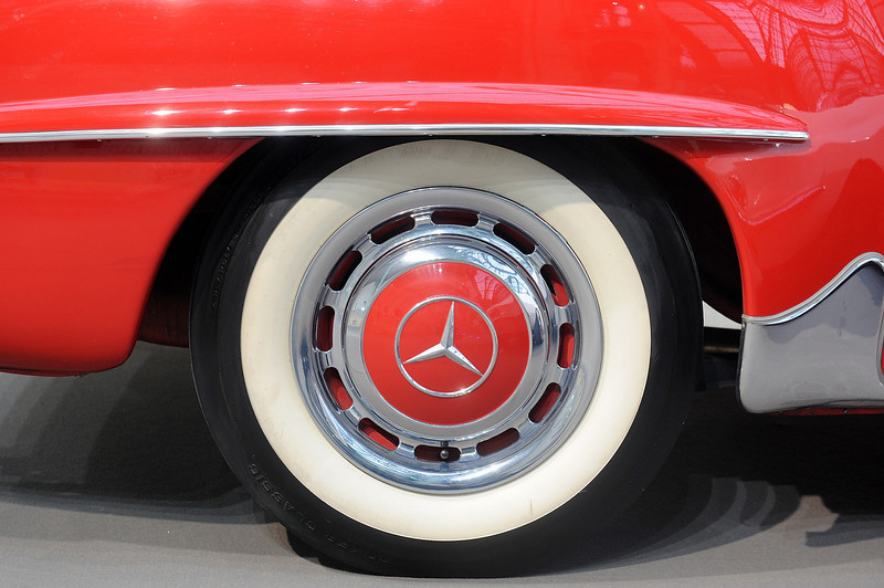 . A Mercedes logo is seen on the wheel of a vintage car, during an exhibition by Bonhams auction house, at Le Grand Palais on February 5, 2014 in Paris, France.  (Photo by Antoine Antoniol/Getty Images)