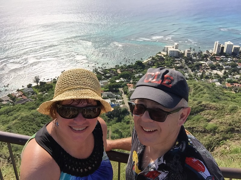 Selfies at the top of Diamond Head