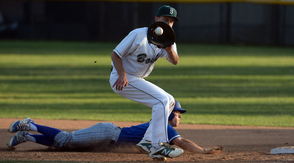 . San Dimas\' Daniel Millwee (C) slides back into first base as Bonita first baseman Cory Kurkierewicz waits four the ball in the first inning of a prep baseball game at Bonita High School in La Verne, Calif., on Wednesday, March 19, 2014.  (Keith Birmingham Pasadena Star-News)