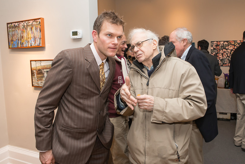 Ed Miller, Ed Stein. Photo by Alfredo Flores. Opening Reception for Edward Bear Miller Exhibit. Foundry Gala. January 4, 2013.