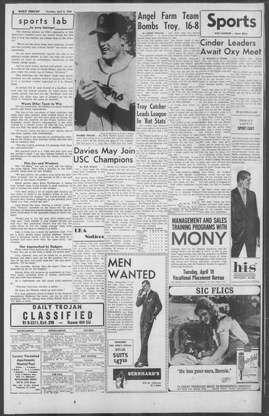 Daily Trojan, Vol. 53, No. 104, April 05, 1962