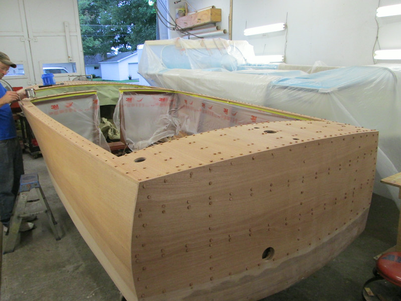 Rear port view of the deck and transom sanded, drilled and plugged.
