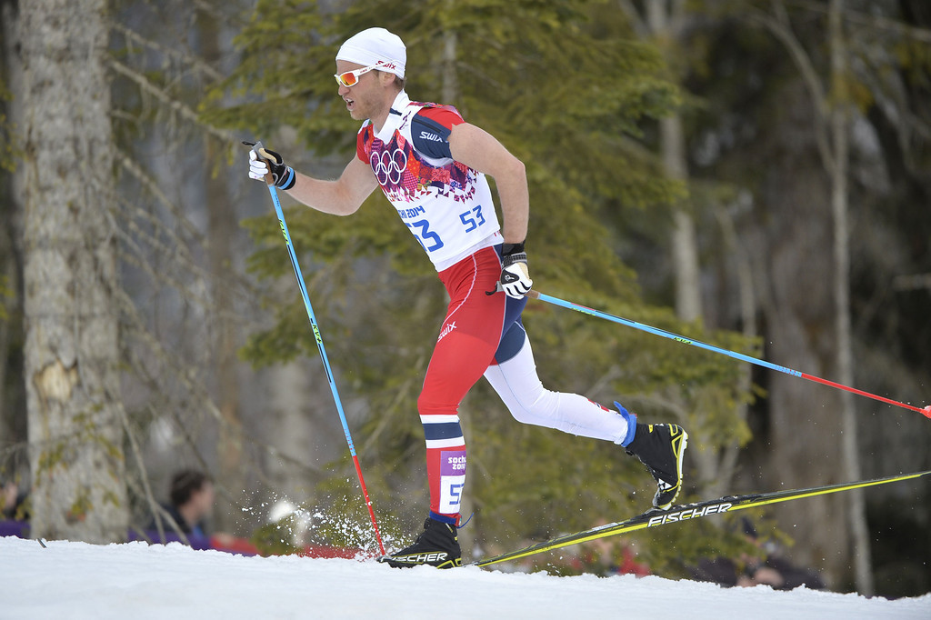 . Norway\'s Martin Johnsrud Sundby competes in the Men\'s Cross-Country Skiing 15km Classic at the Laura Cross-Country Ski and Biathlon Center during the Sochi Winter Olympics on February 14, 2014 in Rosa Khutor near Sochi. AFP PHOTO / ODD ANDERSEN/AFP/Getty Images