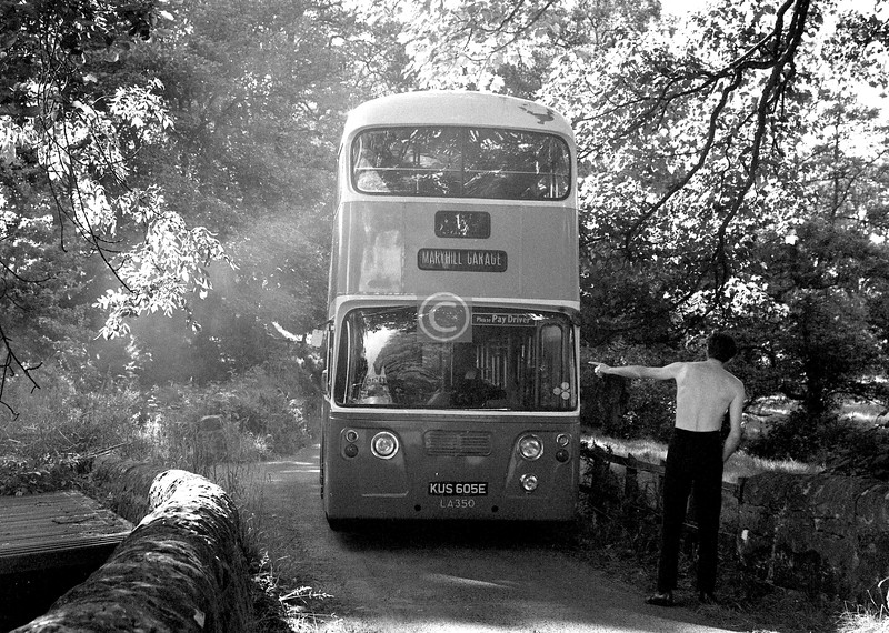 The no. 24 to Baldernock Mill. A bit of a story here.   I was out on a Saturday afternoon dauner in July 1976, from Cadder through to Balmore, on to Bardowie Loch, and then to Baldernock for a look at the kirk and the mill before heading for Milngavie and a train back to the city. All went without incident until I came across this GGPTE double-decker wedged in the tight bends near the mill. Behind the wheel was a lad of maybe 15 who had TWOC'd the bus from Maryhill Garage (which doesn't say a lot for the security at the gate) and taken it for a run in the country. The occupier of the mill cottage was doing his best to guide him, but the bus soon got hopelessly stuck.  Surprisingly, the boy didn't leg it (maybe walking home was a less attractive option than being arrested) but calmly waited for the police to come along, and a couple of hours (and several exasperated motorists) later the garage sent out a driver to recover their vehicle. Meanwhile I was invited into the cottage for a cuppa and was given a conducted tour of the mill by the occupier who, a joiner by trade, was in process of restoring it to working order.  I wish I could remember his name, as he and his wife were a lovely couple.   The case went to the Sheriff Court and we were called as witnesses, but a guilty plea was entered at the last minute.