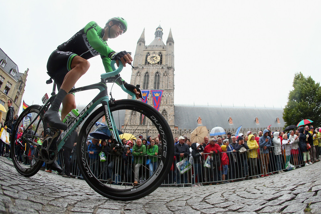 . Tom Leezer of the Netherlands and Belkin makes his way to the start of the fifth stage of the 2014 Tour de France, a 155km stage between Ypres and Arenberg Porte du Hainaut, on July 9, 2014 in Ypres, Belgium.  (Photo by Bryn Lennon/Getty Images)