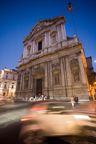 Sant'Andrea della Valle basilica at dusk, Rome