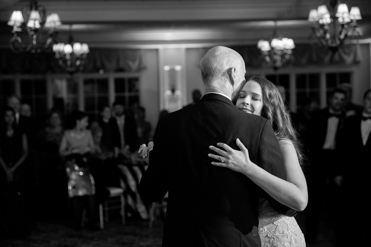 The father-daughter dance at Craig and Lizzie's New Year's Eve wedding in Washington DC.  The wedding reception as at Norbeck Country Club.