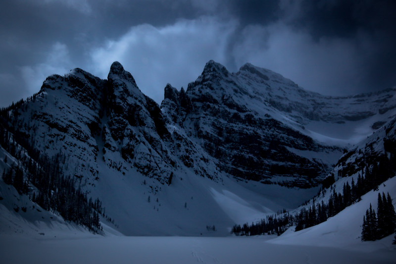 Banff National Park, View from the Tea House in winter.
