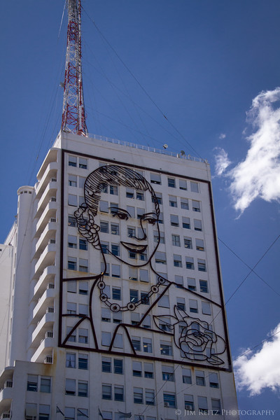 10-story tall sculpture of Evita Peron, on the side of the Ministry of Health building in Buenos Aires.