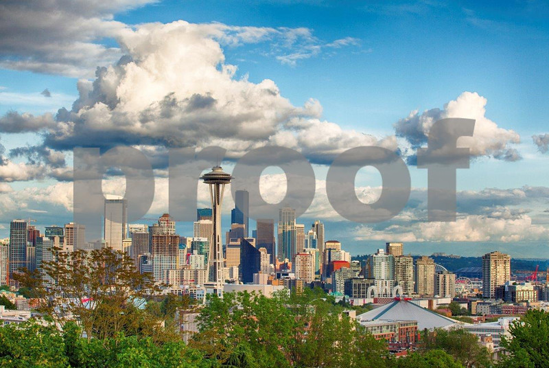 The view southeast from Kerry Park on Queen Anne Hill to the Space Needle and downtown Seattle.