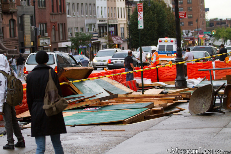 Part of the scaffolding at the YMCA on 9th Street  Park Slope, Brooklyn Tornado 9/16/10 - (c) Michael Landry.com