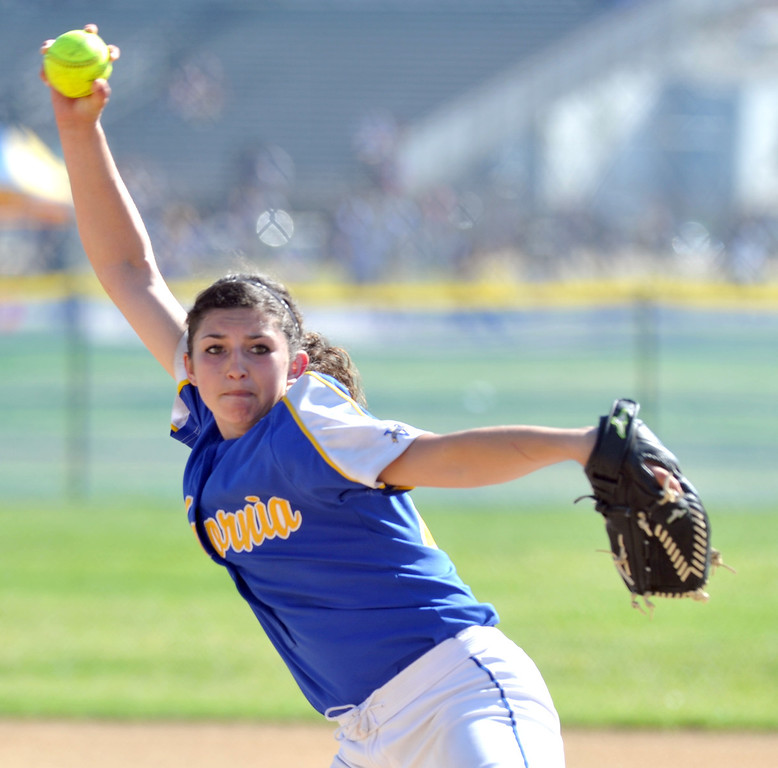 . California\'s Trisha Trujillo (#24) makes a pitch as they play Bell Gardens in their non-league game at California High School in Whittier on Thursday March 14, 2013. California beat Bell Gardens 10-0 in five innings. (SGVN/Staff Photo by Keith Durflinger)