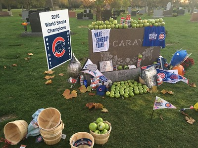 Harry Caray's Grave after the Cub's win the World Series 2016