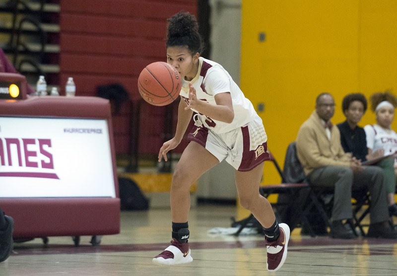 01/24/20   Wesley Bunnell | Staff  New Britain girls basketball defeated Rocky Hill on Friday night in a home game. Maya Slisz (3) on a breakaway after a steal.