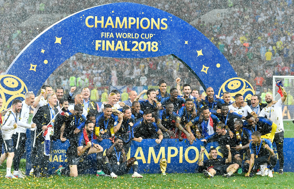 . French players celebrate after winning 4-2 in the final match between France and Croatia at the 2018 soccer World Cup in the Luzhniki Stadium in Moscow, Russia, Saturday, July 14, 2018. (AP Photo/Martin Meissner)