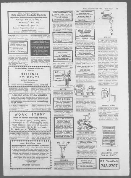 Daily Trojan, Vol. 105, No. 17, September 25, 1987