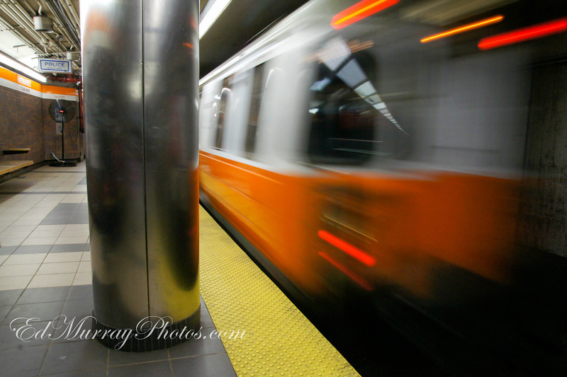 Train Kept A Rollin': An Orange Line train pulls into the Haymarket Station in Boston - Thank you everyone for your visits and continues support! Have a great weekend!