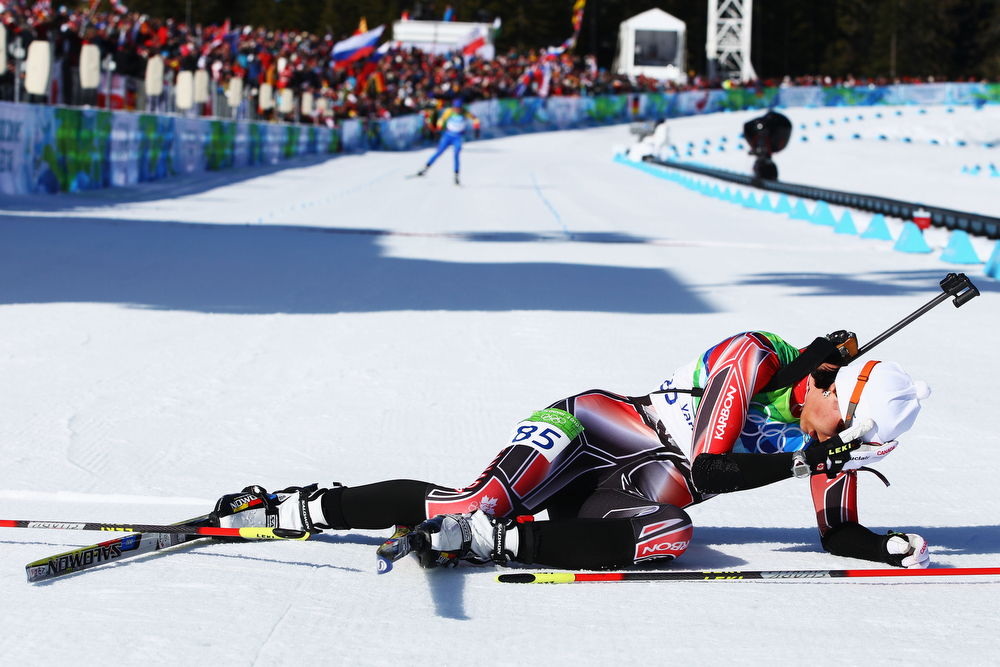 . Rosanna Crawford of Canada competes during the Biathlon Women\'s 15 km individual on day 7 of the 2010 Vancouver Winter Olympics at Whistler Olympic Park Biathlon Stadium on February 18, 2010 in Whistler, Canada.  (Photo by Alexander Hassenstein/Bongarts/Getty Images)