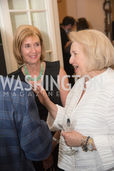 "Paula Dobriansky, Melanne Verveer, Book Party with Ambassador Winston Lord, ""Kissinger on Kissinger"", and Jim Sciutto, ""The Shadow War"", at the home of Juleanna Glover and Christopher Reiter.  Summer 2019, Photo by Ben Droz."