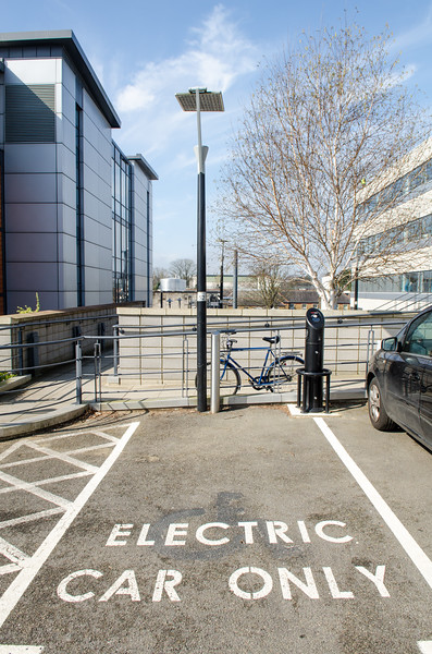 Electric car only parking space