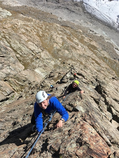 Ellie and Ashlyn climbing the route Egge on Riffelhorn