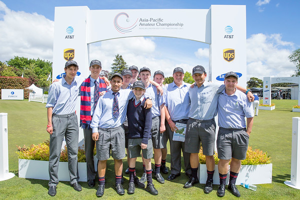 Hutt International Boys School students watching players tee off  the 1st tee on Day 1 of competition in the Asia-Pacific Amateur Championship tournament 2017 held at Royal Wellington Golf Club, in Heretaunga, Upper Hutt, New Zealand from 26 - 29 October 2017. Copyright John Mathews 2017.   www.megasportmedia.co.nz
