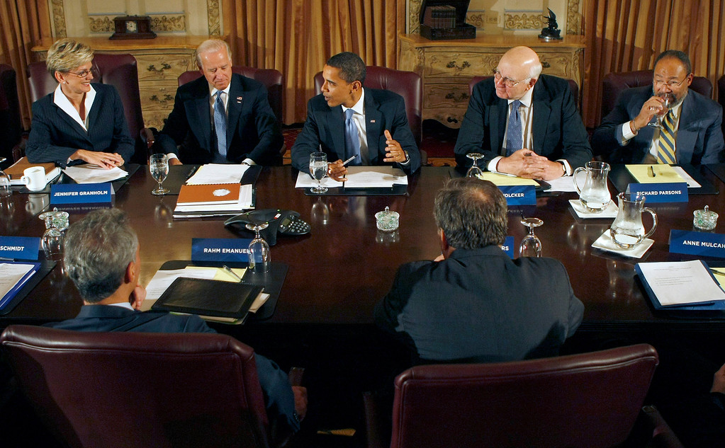 . President-elect Obama, center, meets with his economic advisory team in Chicago, Friday, Nov. 7, 2008. Facing camera, from left are, Michigan Gov. Jennifer Granholm, Vice President-elect Joe Biden, former Federal Reserve Chairman Paul Volcker and Time Warner Chairman Richard Parsons. Back to camera, from left are, White House Chief of Staff-designate Rahm Emanual and former Treasury Secretary Lawrence Summers.  (AP Photo/Pablo Martinez Monsivais)