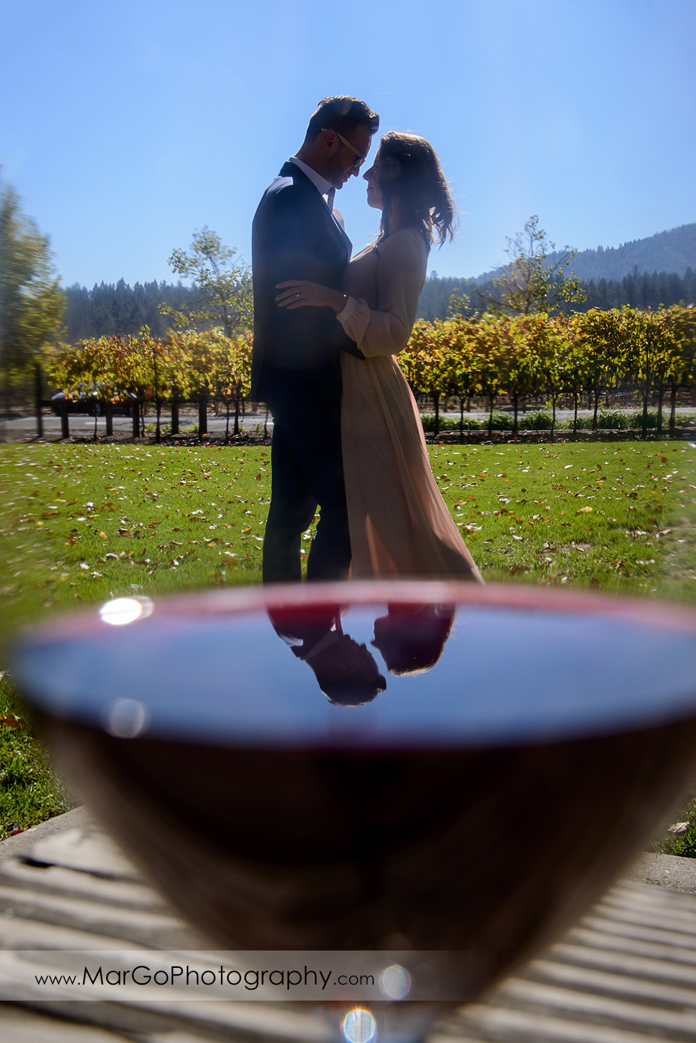 full body portrait of woman in pink dress and man in blue suit through the wine glass during Napa Valley engagement session at Castello di Amorosa in Calistoga
