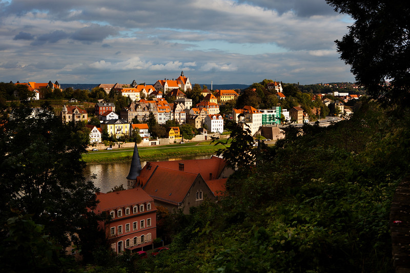 Picturesque Houses on the Elbe, River, Meissen, Germany