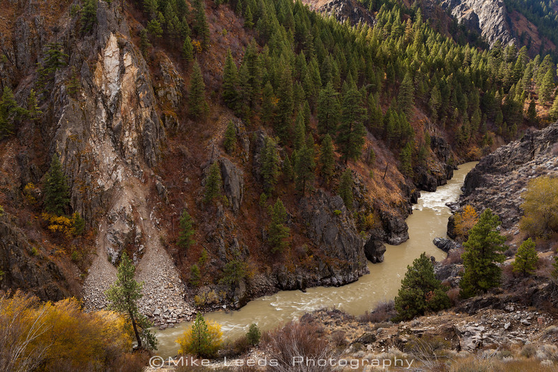 Blackadar Rapid on the S.F.Payette River Canyon in Idaho on a fall afternoon.