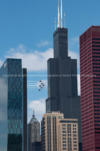 Blue Angels flyby the Chicago Skyline