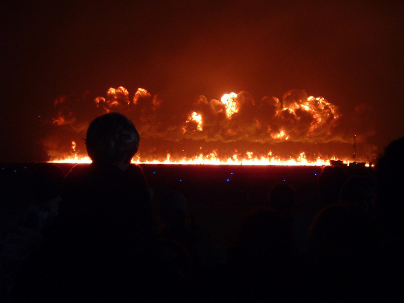 wall of fire: Finale explosion at the Air Show