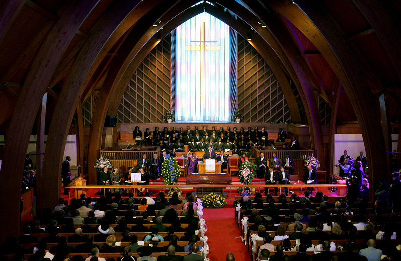 . Alabama Gov. Bob Riley, center, addresses the crowd at St. Paul A.M.E. Church as the body of civil rights icon Rosa Parks lies in repose, Sunday Oct. 30, 2005, in Montgomery, Ala. (AP Photo/Rob Carr)