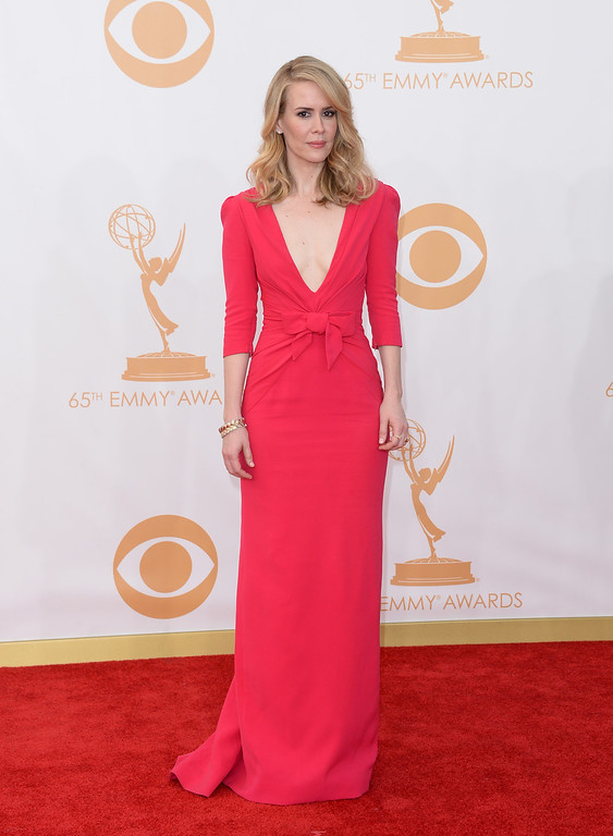 . Actress Sarah Paulson arrives at the 65th Annual Primetime Emmy Awards held at Nokia Theatre L.A. Live on September 22, 2013 in Los Angeles, California.  (Photo by Jason Merritt/Getty Images)