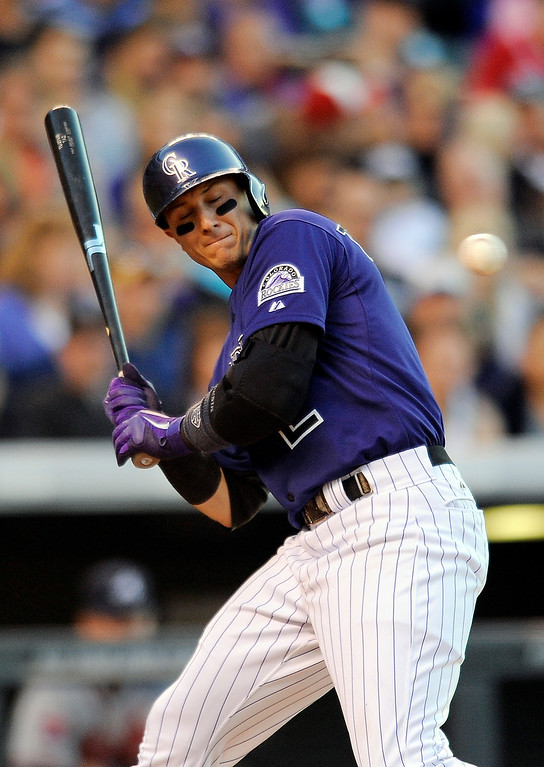 . Colorado Rockies Troy Tulowitzki is brushed back by a pitch in the fourth inning of a baseball game against the Atlanta Braves on Monday, June 9, 2014, in Denver. (AP Photo/Chris Schneider)