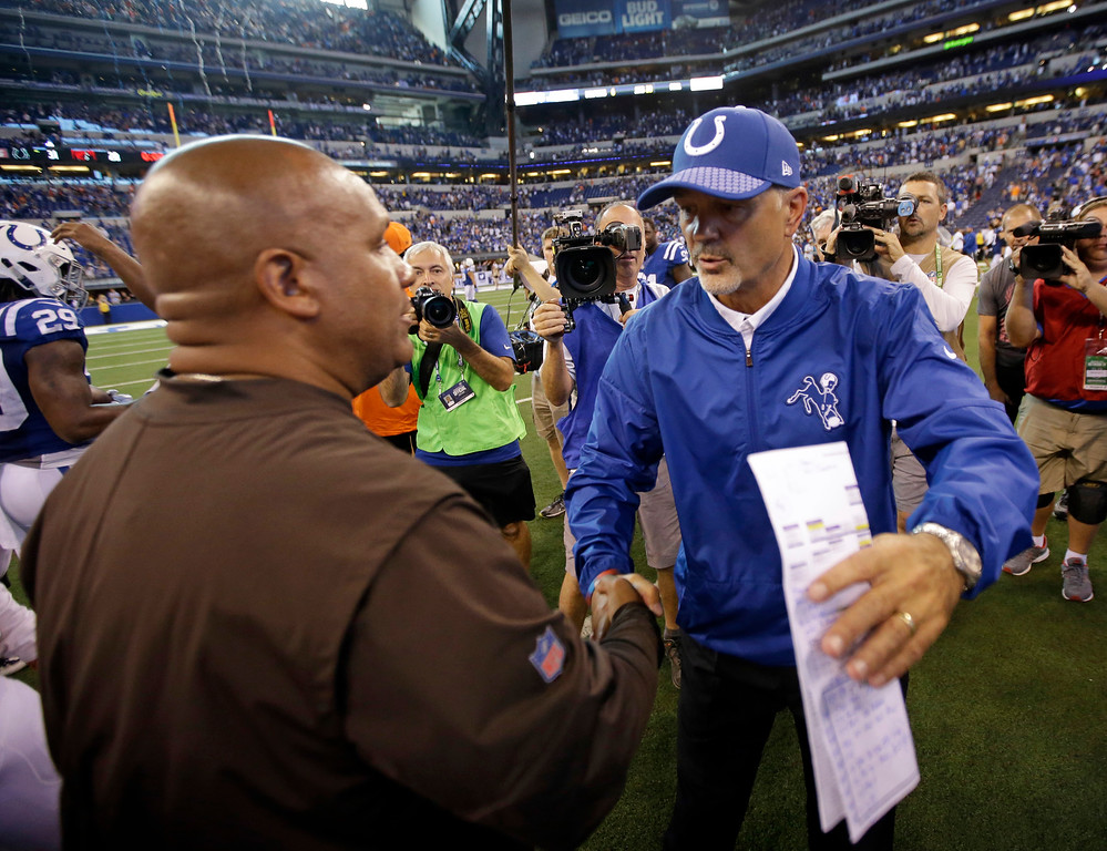 . Indianapolis Colts head coach Chuck Pagano, right, greets Cleveland Browns head coach Hue Jackson following an NFL football game in Indianapolis, Sunday, Sept. 24, 2017. (AP Photo/AJ Mast)