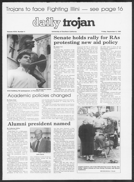 Daily Trojan, Vol. 100, No. 4, September 06, 1985