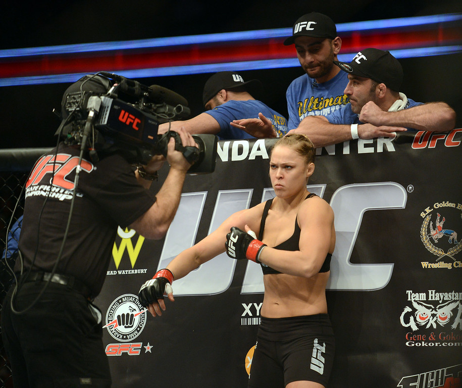 . UFC women�s bantamweight champion Ronda Rousey gets ready to face challenger Liz Carmouche during their UFC 157 match at the Honda Center in Anaheim, CA Saturday, February 23, 2013. Rousey beat Carmouche via first round submission. (Hans Gutknecht/Staff Photographer)