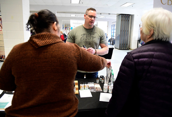 3/7/2020 Mike Orazzi | Staff Your CBD Store Manager Jeremy Morgan during The Central Connecticut Chambers of Commerce's Family Health and Wellness Expo held at Bristol Eastern High School on Saturday.