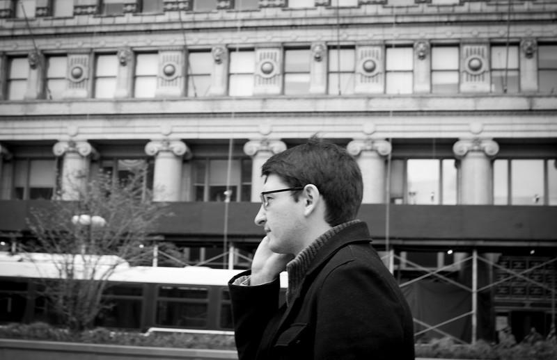 Corey Grabiec walking down Michigan Avenue in Chicago, Illinois on April 16, 2011.  (Jay Grabiec)